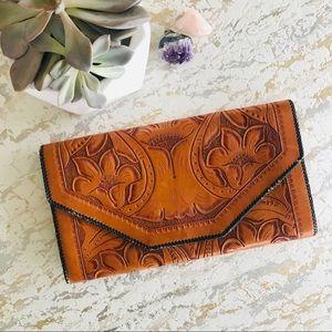 Handbags - Vintage Tooled Leather Envelope Clutch